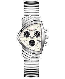 Hamilton Unisex Swiss Chronograph Ventura Stainless Steel Bracelet Watch 32.3x50.3mm