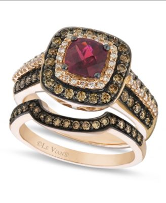 le vian chocolate diamond geometric stackable rings in 14k rose gold - Chocolate Diamond Wedding Ring