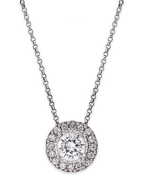 Trumiracle diamond halo pendant necklace in 14k white gold 12 ct main image aloadofball Gallery
