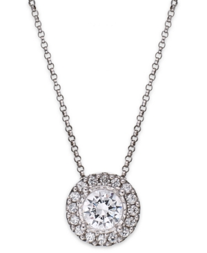 TruMiracle Diamond Halo Pendant Necklace in 14k White Gold (1/2 ct. t.w.)