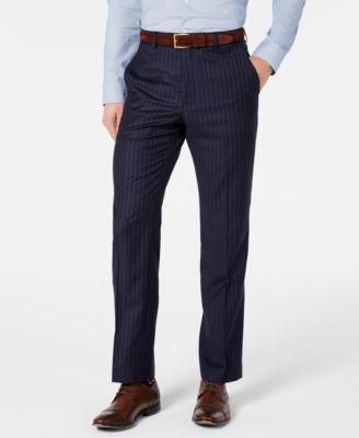 Men's Classic-Fit UltraFlex Stretch Navy Blue Pinstripe Suit Pants