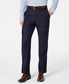 Men's Classic-Fit UltraFlex Stretch Navy Blue Pinstripe Suit Pants