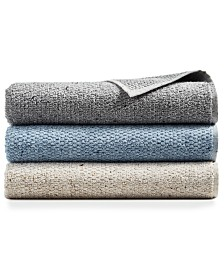 Hotel Collection Linen-Blend Sculpted Bath Towel Collection, Created for Macy's