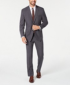 by Andrew Marc Men's Modern-Fit Stretch Gray Solid Suit