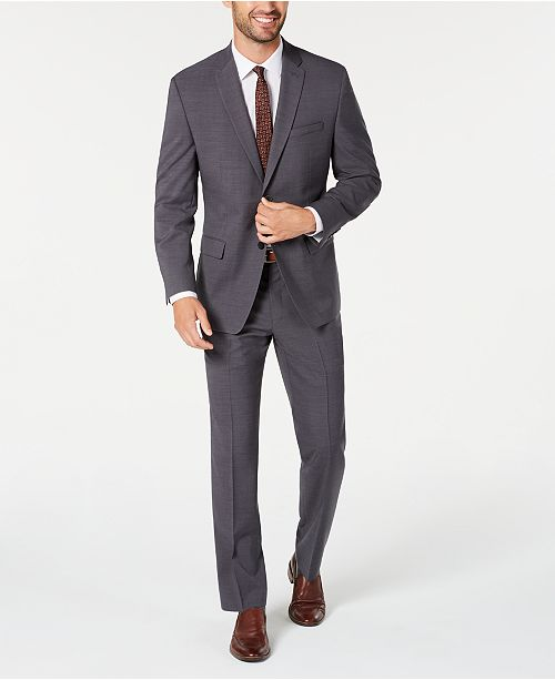 Marc New York by Andrew Marc Men's Modern-Fit Stretch Gray Solid Suit