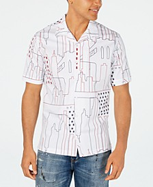 Men's Abstract Cityscape Print Shirt