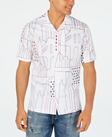 Sean John Men's Abstract Cityscape Print Shirt
