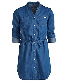 GUESS Big Girls Cotton Denim Shirtdress