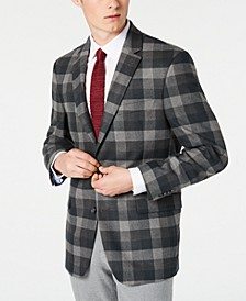 Men's Modern-Fit THFlex Stretch Green/Gray Plaid Sport Coat