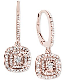 Diamond Square Drop Earrings (1/2 ct. t.w.) in 14k Rose Gold Over Sterling Silver or 14k Gold Over Sterling Silver