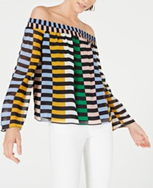 Bar III Off-The-Shoulder Bell-Sleeve Blouse, Created for Macy's
