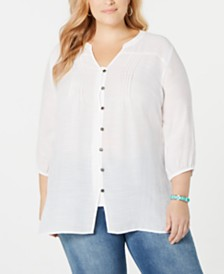 NY Collection Plus Size Button-Front Pleated Top