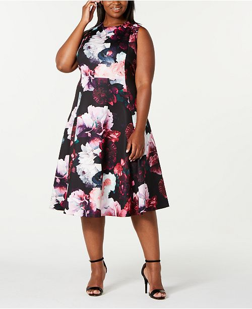 Calvin Klein Trendy Plus Size Floral Fit & Flare Dress