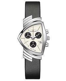 Hamilton Unisex Swiss Chronograph Ventura Black Leather Strap Watch 32.3x50.3mm