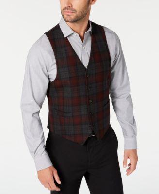 Men's Classic-Fit Red Plaid Vest
