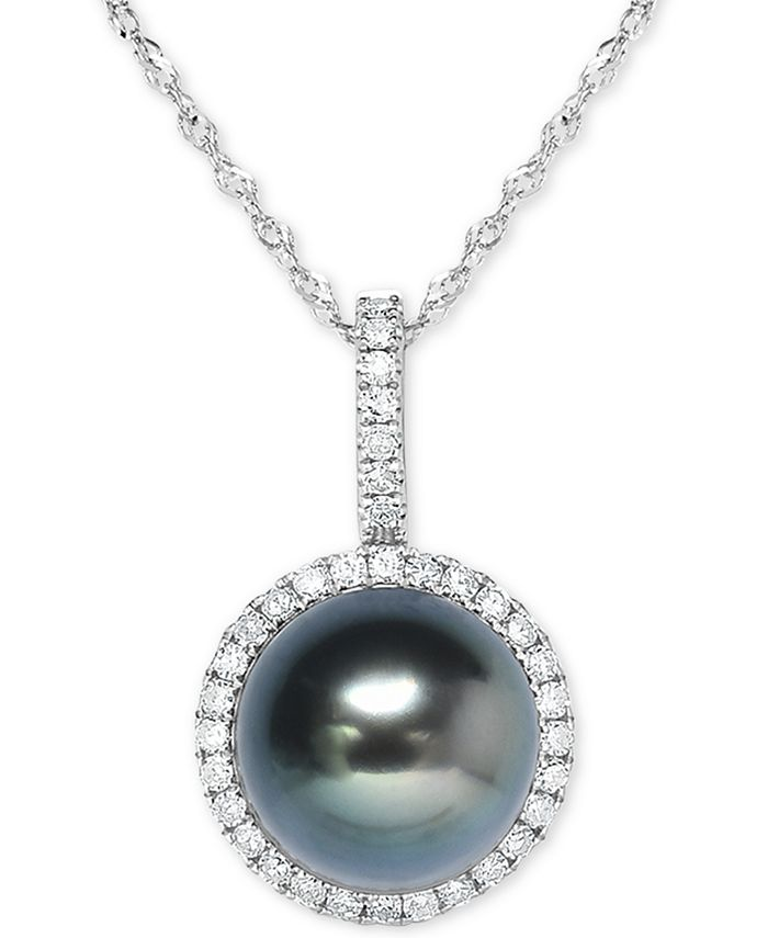 """Macy's - Cultured Tahitian Pearl (9mm) & Diamond (1/5 ct. t.w.) 18"""" Pendant Necklace in 14k White Gold"""