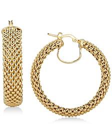 Mesh Hoop Earrings in 14k Gold-Plated Sterling Silver