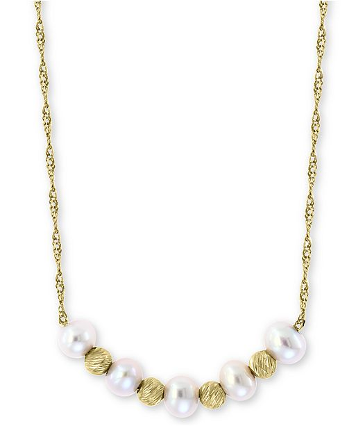 "EFFY Collection EFFY® Cultured Freshwater Pearl (3-1/2mm) & Bead 18"" Statement Necklace in 14k Gold"