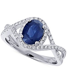 Sapphire (1-1/4 ct. t.w.) & Diamond (1/3 ct. t.w.) Statement Ring in 14k White Gold