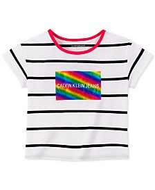Calvin Klein Big Girls Foil-Print Striped Ringer T-Shirt