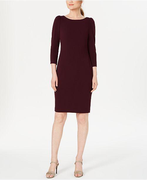 Calvin Klein Petite Puff-Shoulder Sheath Dress