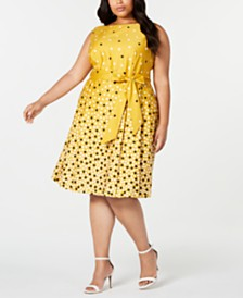 Anne Klein Plus Size Scattered Dot Belted Dress