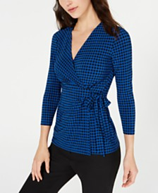 Anne Klein Dot-Print Faux-Wrap Top