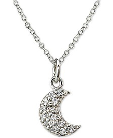 "Cubic Zirconia Crescent Moon Pendant Necklace in Sterling Silver, 18"" + 2"" extender"