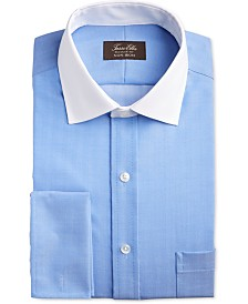 Tasso Elba Men's Slim-Fit Non-Iron Stretch Herringbone French Cuff Dress Shirt, Created for Macy's