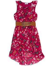 Big Girls Belted Butterfly-Print Boho Dress