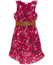 Speechless Big Girls Belted Butterfly-Print Boho Dress