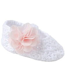 Baby Girl Crochet Bootie with Skimmer and Flower Overlay