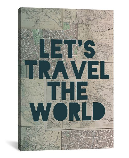 """iCanvas Travel The World by Leah Flores Gallery-Wrapped Canvas Print - 40"""" x 26"""" x 0.75"""""""