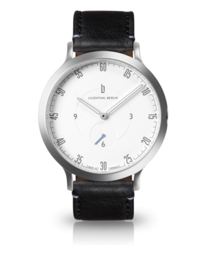L1 Standard White Dial Silver Case Leather Watch 42mm