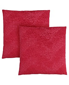 """Monarch Specialties 18"""" x 18"""" Feathered Velvet Pillow, Set Of 2"""