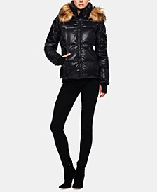 Kylie Faux-Fur-Trim Down Puffer Coat