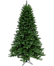 7.5'. Greenland Pine Artificial Christmas Tree with Clear LED String Lighting