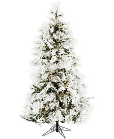 6.5'. Frosted Fir Snowy Artificial Christmas Tree with Clear LED String Lighting