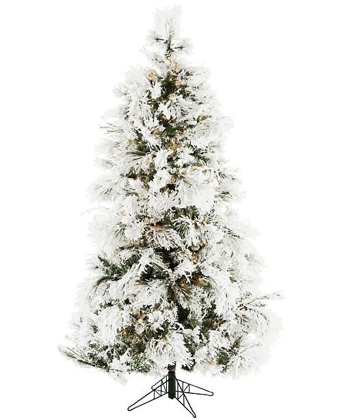 Christmas Time 6.5'. Frosted Fir Snowy Artificial Christmas Tree with Clear LED String Lighting