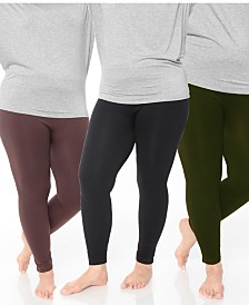 White Mark Pack of 3 Women's Plus Size Legging (One Size Fits Most)