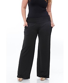 White Mark Plus Size Solid Palazzo Pants