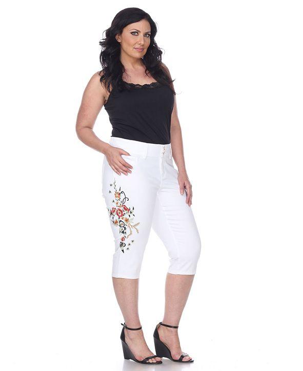 White Mark Plus Size Super Stretch Capri Embroidered Denim