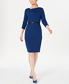 Petite Belted Cowlneck Sheath Dress