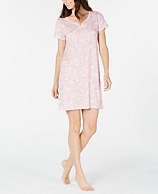 Short Sleeve Cotton Floral-Print Sleep Shirt, Created For Macy's