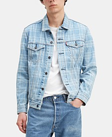 Men's Plaid Laser Printed Denim Trucker Jacket