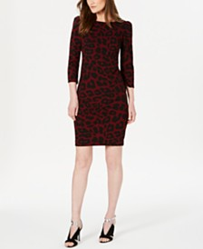 Calvin Klein Animal-Print Puff-Sleeve Dress