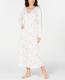 Charter Club Cotton Lace-Trim Printed Nightgown, Created for Macy's