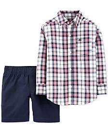 Carter's Baby Boys 2-Pc. Cotton Plaid Shirt & Shorts Set