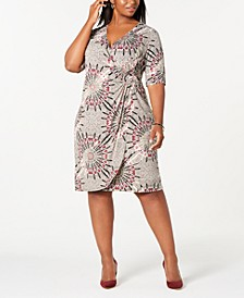 Trendy Plus Size Circle-Print Wrap Dress