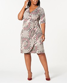 Connected Trendy Plus Size Circle-Print Wrap Dress